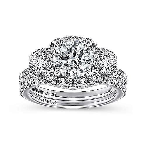 Raya 18k White Gold Round 3 Stones Halo Engagement Ring angle 4