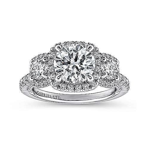 Raya 18k White Gold Round 3 Stones Halo Engagement Ring angle 5