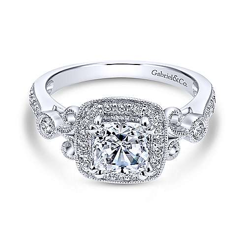 Gabriel - Reade 14k White Gold Cushion Cut Halo Engagement Ring