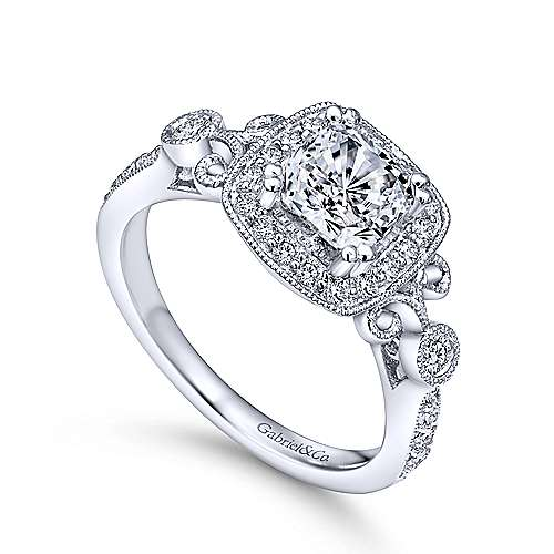 Reade 14k White Gold Cushion Cut Halo Engagement Ring angle 3