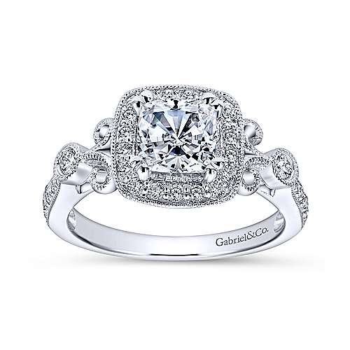Reade 14k White Gold Cushion Cut Halo Engagement Ring angle 5
