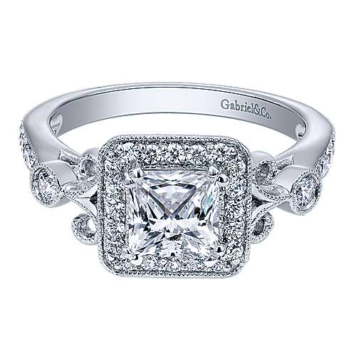 Gabriel - Reade 14k White Gold Princess Cut Halo Engagement Ring