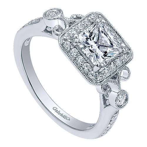 Reade 14k White Gold Princess Cut Halo Engagement Ring angle 3