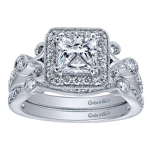 Reade 14k White Gold Princess Cut Halo Engagement Ring angle 4