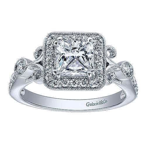 Reade 14k White Gold Princess Cut Halo Engagement Ring angle 5