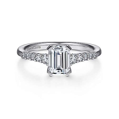Gabriel - Reed 14k White Gold Emerald Cut Straight Engagement Ring