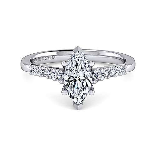 Gabriel - Reed 14k White Gold Marquise  Straight Engagement Ring