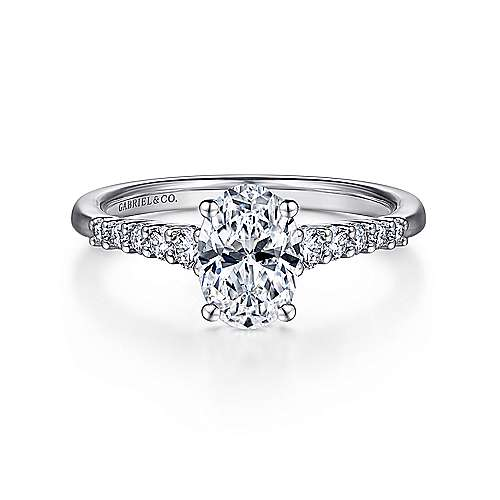 Gabriel - Reed 14k White Gold Oval Straight Engagement Ring