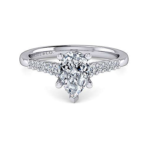 Gabriel - Reed 14k White Gold Pear Shape Straight Engagement Ring