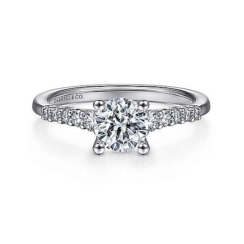 Gabriel - Reed 18k White Gold Round Straight Engagement Ring