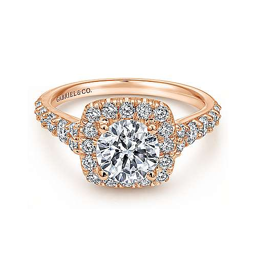 Reese 14k Rose Gold Round Halo Engagement Ring angle 1