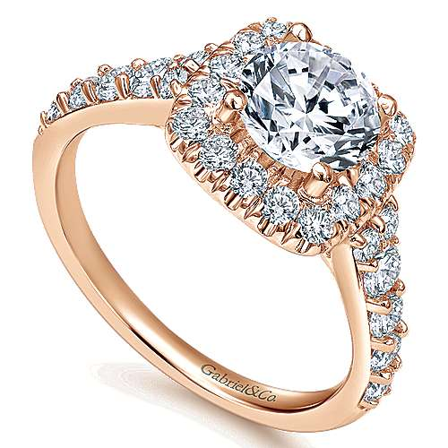 Reese 14k Rose Gold Round Halo Engagement Ring angle 3