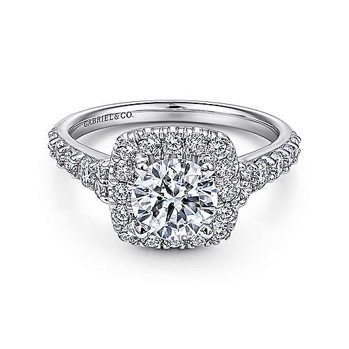 Reese 14k White Gold Round Halo Engagement Ring angle 1