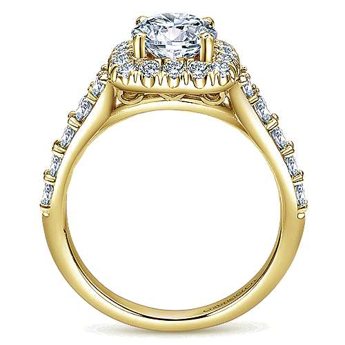 Reese 14k Yellow Gold Round Halo Engagement Ring angle 2