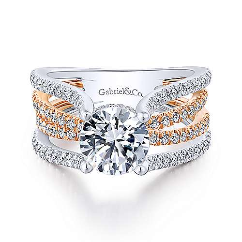 Gabriel - Reese 18k White And Rose Gold Round Twisted Engagement Ring