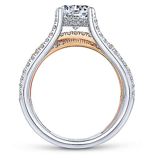 Reese 18k White And Rose Gold Round Twisted Engagement Ring angle 2