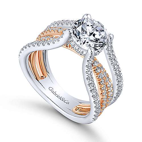 Reese 18k White And Rose Gold Round Twisted Engagement Ring angle 3