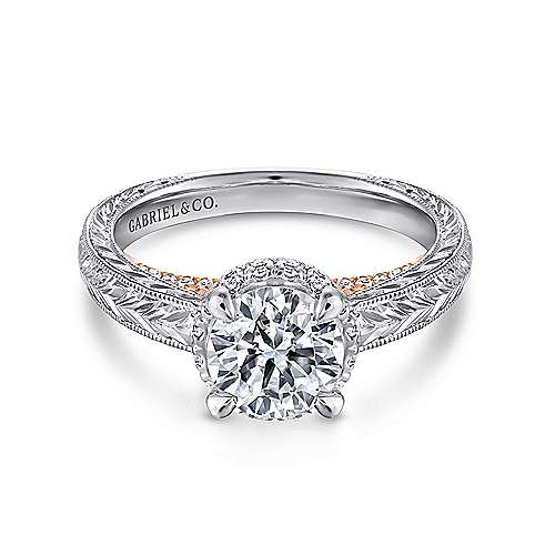 Regina 14k White And Rose Gold Round Straight Engagement Ring angle 1