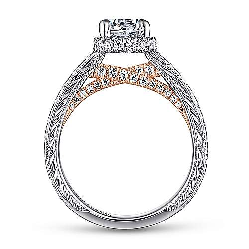 Regina 14k White And Rose Gold Round Straight Engagement Ring angle 2