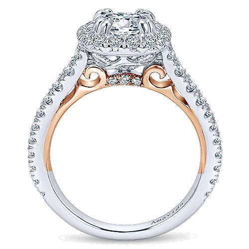 Reina 18k White And Rose Gold Round Halo Engagement Ring angle 2