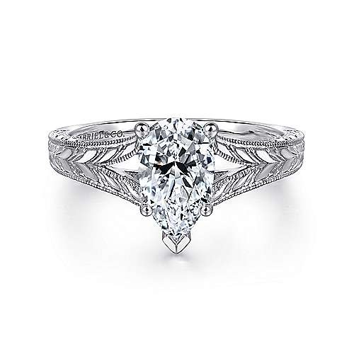Gabriel - Remy 14k White Gold Pear Shape Split Shank Engagement Ring