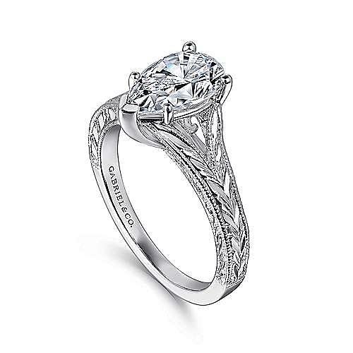 Remy 14k White Gold Pear Shape Split Shank Engagement Ring angle 3
