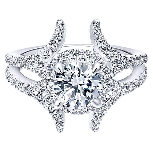 Gabriel - Rhea 14k White Gold Round Halo Engagement Ring