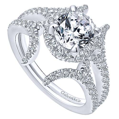Rhea 14k White Gold Round Halo Engagement Ring angle 3