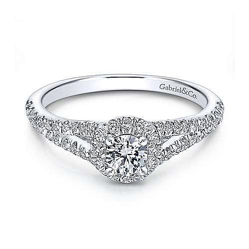 Gabriel - Ribbon 14k White Gold Round Halo Engagement Ring