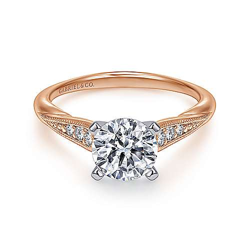Gabriel - Riley 14k White And Rose Gold Round Straight Engagement Ring