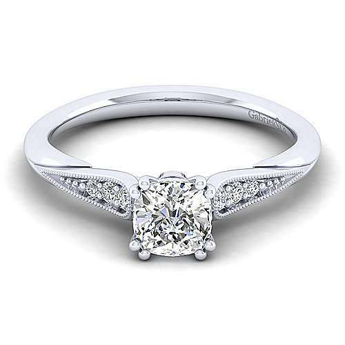 Gabriel - Riley 14k White Gold Cushion Cut Straight Engagement Ring