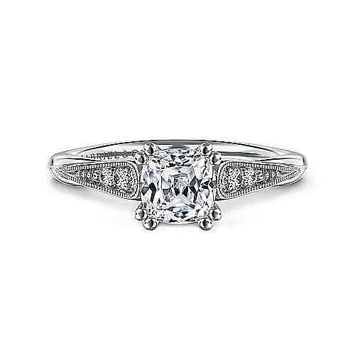 Gabriel - Riley 14k White Gold Cushion Cut Straight Engagement Ring