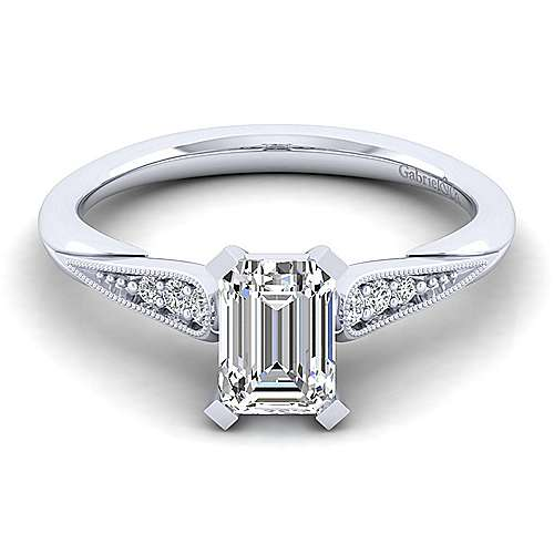 Gabriel - Riley 14k White Gold Emerald Cut Straight Engagement Ring