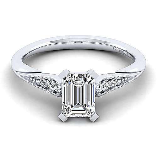 Gabriel - Riley 14k White Gold Emerald Cut Straight Engagement Ring