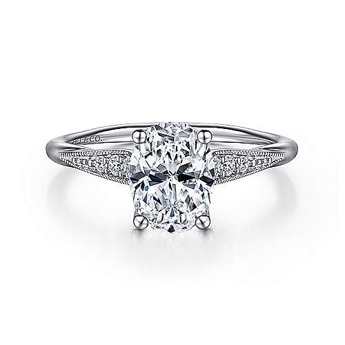 Gabriel - Riley 14k White Gold Oval Straight Engagement Ring