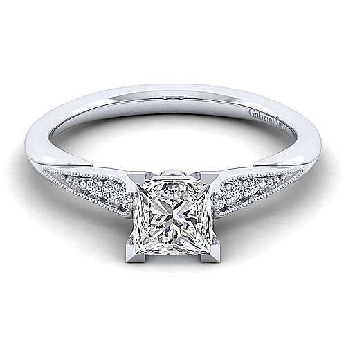 Gabriel - Riley 14k White Gold Princess Cut Straight Engagement Ring