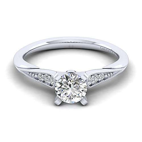 Gabriel - Riley 14k White Gold Round Straight Engagement Ring