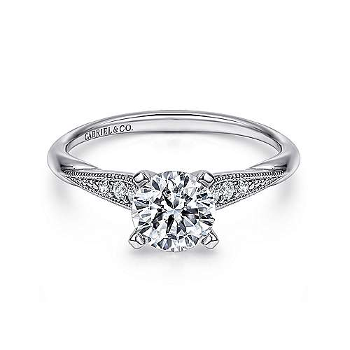 Riley 14k White Gold Round Straight Engagement Ring angle 1