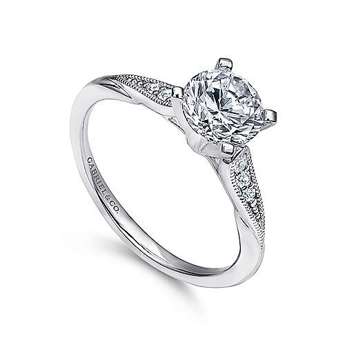 Riley 14k White Gold Round Straight Engagement Ring