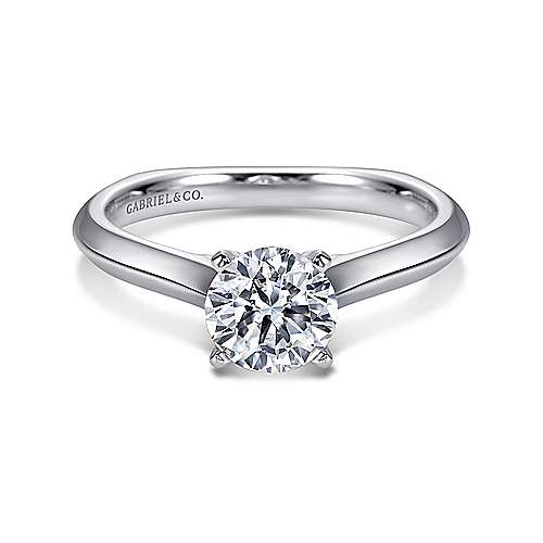 Rina 14k White Gold Round Solitaire Engagement Ring angle 1