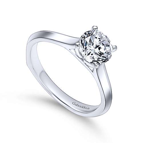 Rina 14k White Gold Round Solitaire Engagement Ring angle 3