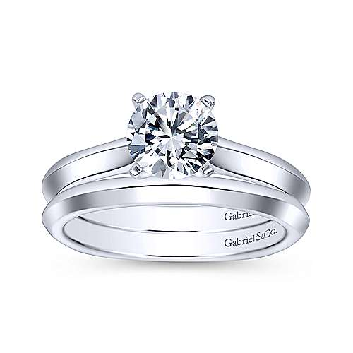 Rina 14k White Gold Round Solitaire Engagement Ring angle 4
