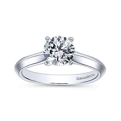 Rina 14k White Gold Round Solitaire Engagement Ring angle 5
