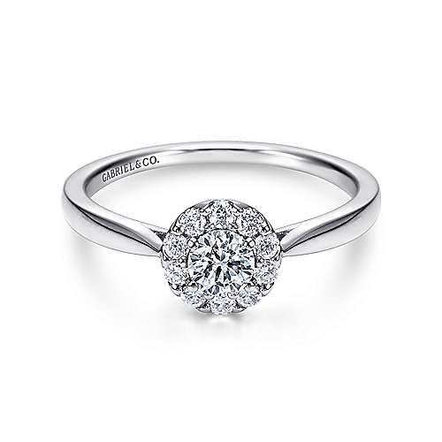 Gabriel - Ritz 14k White Gold Round Halo Engagement Ring