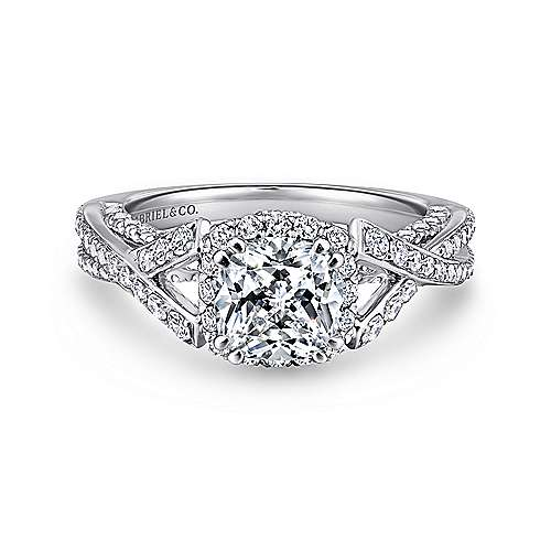 Riviera 14k White Gold Cushion Cut Halo Engagement Ring angle 1