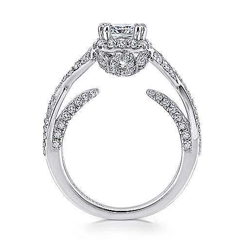 Riviera 14k White Gold Cushion Cut Halo Engagement Ring angle 2