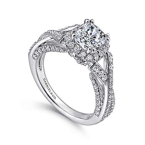 Riviera 14k White Gold Cushion Cut Halo Engagement Ring angle 3