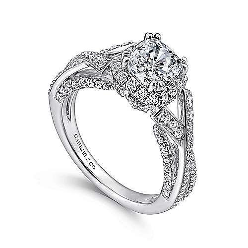 Riviera 14k White Gold Cushion Cut Halo Engagement Ring angle 3