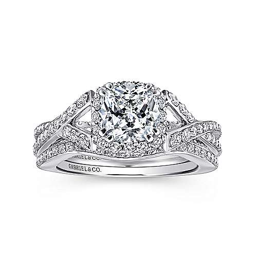 Riviera 14k White Gold Cushion Cut Halo Engagement Ring angle 4