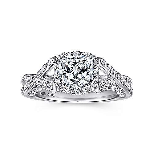 Riviera 14k White Gold Cushion Cut Halo Engagement Ring angle 5